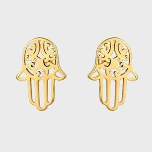 Tiny Hamsa Hand Gold Plated Studs Earrings